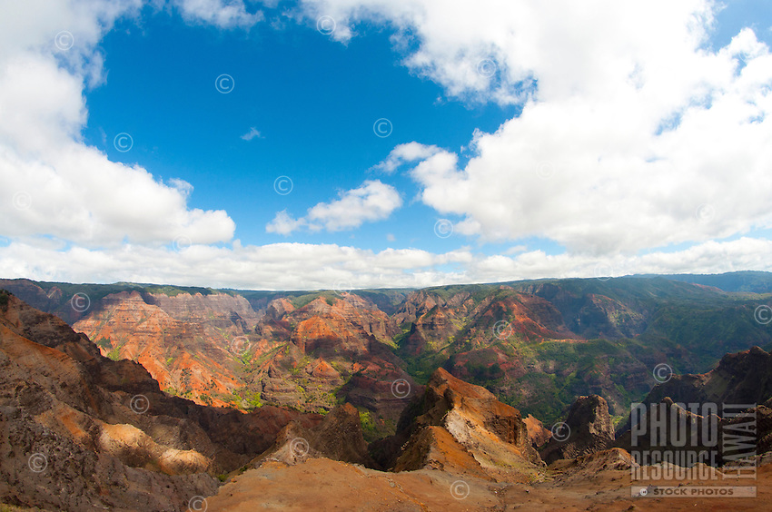 Kauai's spectacular Waimea Canyon is 10 miles long, one mile wide, and 3,500 feet deep.