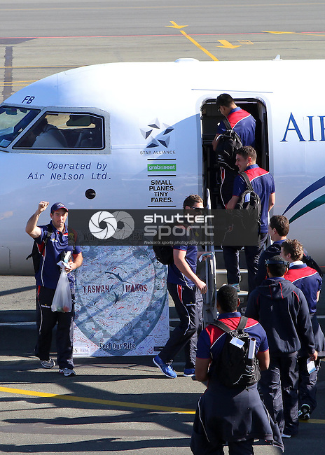 Shield fever: The Tasman Makos are farewelled at Nelson Airport , 31 August 2012, Nelson Airport, Nelson, New Zealand<br /> Photo: Marc Palmano/shuttersport.co.nz