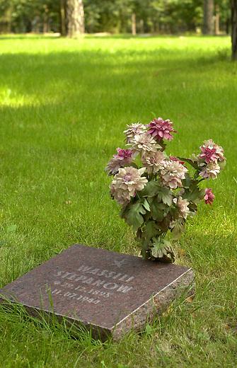 Friedhof Halbe<br /> Vom 24. April 1945 bis 1. Mai 1945 fand in der Gegend um den Brandenburgischen Ort Halbe eine der letzten grossen Schlachten der Wehrmacht gegen die Rote Armee statt. Unter dem Befehl des Wehrmachtsgeneral Theodor Busse (9. Armee) kamen mehr als 40.000 Wehrmachtssoldaten und unzaehlige Zivilisten ums Leben. General Busse lehnte ein Kapitulationsangebot der Roten Armee ab. In den Waeldern um Halbe starben innerhalb dieser einen Woche insgesammt ueber 60.000 Menschen.<br /> Auf dem Waldfriedhof Halbe in Brandenburg wurden ueber 23.000 Kriegsopfer beerdigt. Ebenfalls auf dem Waldfriedhof begraben sind unzaehlige ermordete russische Zwangsarbeiterinnen und Zwangsarbeiter, sowie ca. 4.500 Tote aus den NKWD Lager Ketschendorf.<br /> Rechtsextremisten und Neonazis planen zum Volkstrauertag im November 2002 auf der Gedenkstaette ein sogenanntes &quot;Heldengedenken&quot;.<br /> Hier: Grab eines 1944 verstorbenen russischen Zwangsarbeiters.<br /> 25.8.2002, Berlin<br /> Copyright: Christian-Ditsch.de<br /> [Inhaltsveraendernde Manipulation des Fotos nur nach ausdruecklicher Genehmigung des Fotografen. Vereinbarungen ueber Abtretung von Persoenlichkeitsrechten/Model Release der abgebildeten Person/Personen liegen nicht vor. NO MODEL RELEASE! Nur fuer Redaktionelle Zwecke. Don't publish without copyright Christian-Ditsch.de, Veroeffentlichung nur mit Fotografennennung, sowie gegen Honorar, MwSt. und Beleg. Konto: I N G - D i B a, IBAN DE58500105175400192269, BIC INGDDEFFXXX, Kontakt: post@christian-ditsch.de<br /> Bei der Bearbeitung der Dateiinformationen darf die Urheberkennzeichnung in den EXIF- und  IPTC-Daten nicht entfernt werden, diese sind in digitalen Medien nach &sect;95c UrhG rechtlich geschuetzt. Der Urhebervermerk wird gemaess &sect;13 UrhG verlangt.]