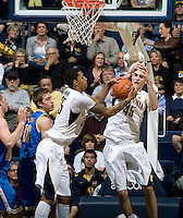 Richard Solomon of California rebounds the ball during the game against UCLA at Haas Pavilion in Berkeley, California on February 14th, 2013.   California defeated UCLA, 77-63.
