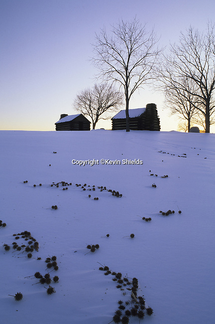 Huts at Valley Forge, Pennsylvania, USA, site of Winter encampment of the Continental Army during the Revolutionary War under General George Washington, 1777-78.