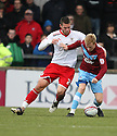 Mark Duffy of Scunthorpe holds off Michael Bostwick of Stevenage. Scunthorpe United v Stevenage - npower League 1 - Glanford Park, Scunthorpe - 21st January, 2012. © Kevin Coleman 2012