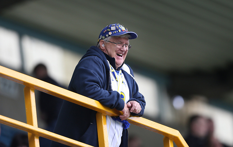 Leeds fan<br /> <br /> Photographer Rob Newell/CameraSport<br /> <br /> The EFL Sky Bet Championship - Millwall v Leeds United - Saturday 5th October 2019 - The Den - London<br /> <br /> World Copyright © 2019 CameraSport. All rights reserved. 43 Linden Ave. Countesthorpe. Leicester. England. LE8 5PG - Tel: +44 (0) 116 277 4147 - admin@camerasport.com - www.camerasport.com