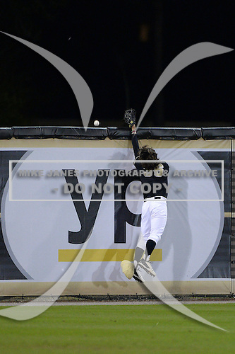 Central Florida Knights outfielder Bret Gordon (36) can not catch the home run off the bat of Dan Swain (not pictured) during the season opening game against the Siena Saints at Jay Bergman Field on February 14, 2014 in Orlando, Florida.  UCF defeated Siena 8-1.  (Copyright Mike Janes Photography)