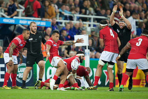 09.10.2015. St James Park, Newcastle, England. Rugby World Cup. New Zealand versus Tonga. Tonga scrum-half Sonatane Takulua clears the ball.