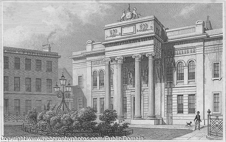 Salter's Hall engraving 'Metropolitan Improvements, or London in the Nineteenth Century' London, England, UK 1828 , drawn by Thomas H Shepherd