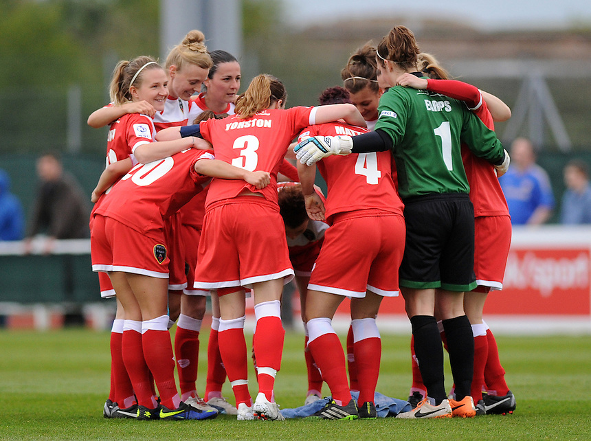 Bristol Academy Womens' group huddle before kick off<br /> <br /> Photo by Ashley Crowden/CameraSport<br /> <br /> Football - FA Woman's Super League - Bristol Academy Woman v Chelsea Ladies FC - Thursday 17th April 2014 - Stoke Gifford Stadium - Bristol<br /> <br />  &copy; CameraSport - 43 Linden Ave. Countesthorpe. Leicester. England. LE8 5PG - Tel: +44 (0) 116 277 4147 - admin@camerasport.com - www.camerasport.com