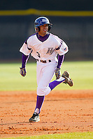 Willie Medina (3) of the High Point Panthers takes off for third base against the Ohio Bobcats at Willard Stadium on March 6, 2013 in High Point, North Carolina.  The Panthers defeated the Bobcats 4-1.  (Brian Westerholt/Four Seam Images)