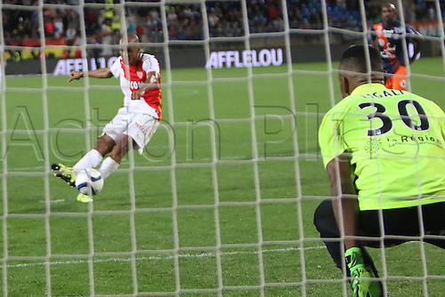 24.09.2015. Montpelier, France. French League 1 football. Montpellier versus AS Monaco.   Fabinho (mon) scores his goal from the penalty spot in the 95th minute (injury time) to win the game 2-3