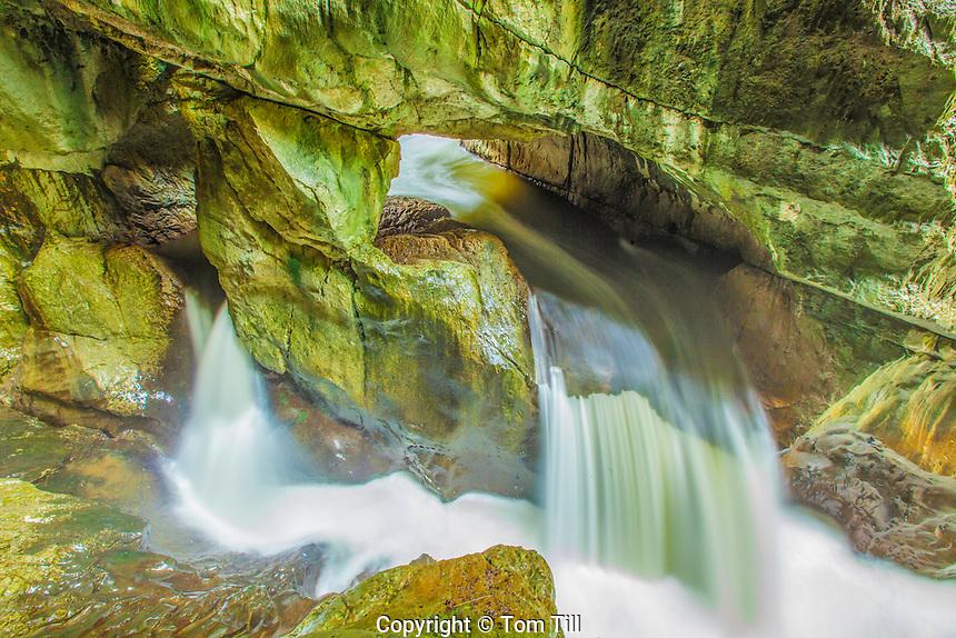 Waterfalls outside Skocjan Cave, Skocjan Caves Regional Park, Slovenia UNESCO world Heritage Site, Scojan Caves Regional Park