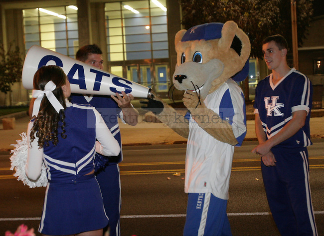Scratch steals a megaphone to rally students during the Homecoming Pep rally in front of Memorial Coliseum in Lexington, Ky., on Monday, October 15, 2012.