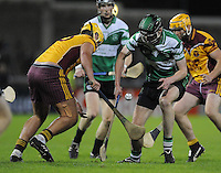 24th October 2013; Tommy Somers, Lucan Sarsfields, in action against Darren Kelly, Craobh Chiarain. Dublin County Senior Hurling Championship Semi-Final, Craobh Chiarain v Lucan Sarsfields, Parnell Park, Dublin. Picture credit: Tommy Grealy / actionshots.ie