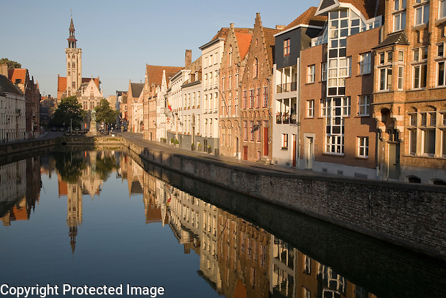 Burghers' Lodge with holds state archives (in the distance) and the Hanseatic Neighbourhood, Bruges; Belgium; Europe