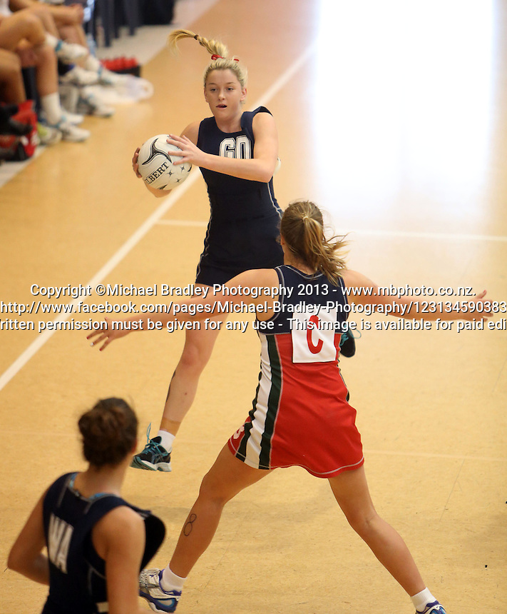 11.10.2013 Action during the New Plymouth Girls v St Margaret's netball match at the NZ Secondary Schools Netball Champs played at the Auckland Netball Centre in Auckland. Mandatory Photo Credit ©Michael Bradley.