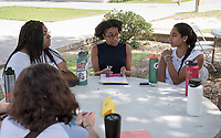 Erica Ball, Professor of American Studies. Individual faculty advising appointments in the Academic Quad for incoming first-years at the start of Occidental College's Fall Orientation for the class of 2021, Aug. 25, 2017.<br /> (Photo by Marc Campos, Occidental College Photographer)