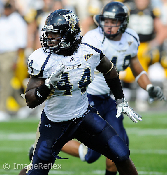 6 September 2008:  FIU linebacker Scott Bryant (44) pursues the ball carrier in the first half of the Iowa 42-0 victory over FIU at Kinnick Field in Iowa City, Iowa.