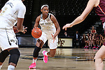 25 February 2016: Wake Forest's Milan Quinn. The Wake Forest University Demon Deacons hosted the Virginia Tech Hokies at Lawrence Joel Veterans Memorial Coliseum in Winston-Salem, North Carolina in a 2015-16 NCAA Division I Women's Basketball game. Virginia Tech won the game 54-48.