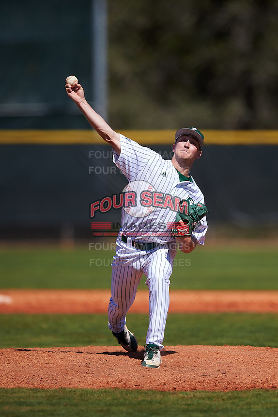 Eastern Michigan Eagles relief pitcher Luke DeVenney (2) delivers a pitch during a game against the Dartmouth Big Green on February 25, 2017 at North Charlotte Regional Park in Port Charlotte, Florida.  Dartmouth defeated Eastern Michigan 8-4.  (Mike Janes/Four Seam Images)