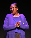 """Valentine Rugwabiza, Rwanda Ambassador to the UN on stage during """"Miracle in Rwanda"""" honoring International Day of Reflection on the 1994 Genocide against the Tutsi in Rwanda at the Lion Theatre on Theater Row on April 7, 2019 in New York City."""
