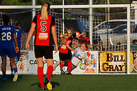 Rochester, NY - Friday June 24, 2016: Boston Breakers goalkeeper Jami Kranich (2), Western New York Flash midfielder Makenzy Doniak (3) scores at end of second half. during a regular season National Women's Soccer League (NWSL) match between the Western New York Flash and the Boston Breakers at Rochester Rhinos Stadium.