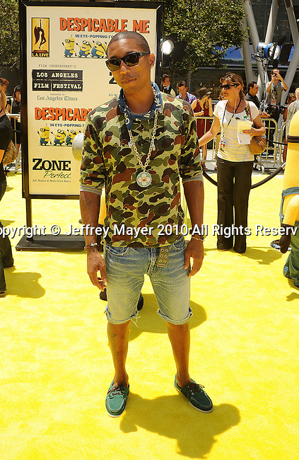 "LOS ANGELES, CA. - June 27: Pharrell Williams arrives at the 2010 Los Angeles Film Festival - ""Despicable Me"" Premiere on June 27, 2010 in Los Angeles, California."