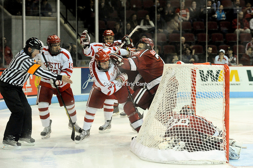 Boston University Terriers forward defense Danny O'Regan (10) scores a goal during 3rd period of the Harvard University at Boston University NCAA hockey match held at the Agganis Arena in Boston Massachusetts.   Eric Canha/CSM