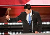 Speaker of the United States House of Representatives Paul Ryan (Republican of Wisconsin) swings the gavel to certify that Donald J. Trump is the nominee for President of the United States at the 2016 Republican National Convention held at the Quicken Loans Arena in Cleveland, Ohio on Tuesday, July 19, 2016.<br /> Credit: Ron Sachs / CNP<br /> (RESTRICTION: NO New York or New Jersey Newspapers or newspapers within a 75 mile radius of New York City)