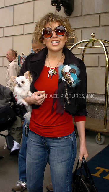 WWW.ACEPIXS.COM . . . . .  ....NEW YORK, MAY 10, 2006....Thalia with her dog at the Ritz Carlton Hotel.....Please byline: AJ Sokalner - ACEPIXS.COM.... *** ***..Ace Pictures, Inc:  ..(212) 243-8787 or (646) 769 0430..e-mail: picturedesk@acepixs.com..web: http://www.acepixs.com