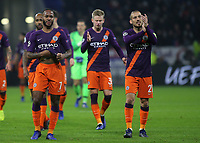 Manchester City's Raheem Sterling and David Silva walk towards the away fans at the end of the match during Lyon vs Manchester City, UEFA Champions League Football at Groupama Stadium on 27th November 2018