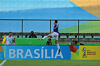 31st October 2019; Bezerrao Stadium, Brasilia, Distrito Federal, Brazil; FIFA U-17 World Cup Brazil 2019, Solomon Islands versus Paraguay; Junior Noguera of Paraguay celebrates his goal in the 3rd minute, 0-1 - Editorial Use