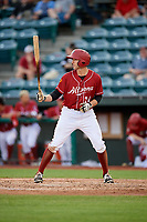 Altoona Curve right fielder Jordan George (24) at bat during a game against the Richmond Flying Squirrels on May 15, 2018 at Peoples Natural Gas Field in Altoona, Pennsylvania.  Altoona defeated Richmond 5-1.  (Mike Janes/Four Seam Images)