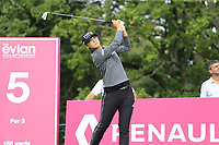 Sung Hyun Park (KOR) tees off the 5th tee during Friday's Round 2 of The Evian Championship 2018, held at the Evian Resort Golf Club, Evian-les-Bains, France. 14th September 2018.<br /> Picture: Eoin Clarke | Golffile<br /> <br /> <br /> All photos usage must carry mandatory copyright credit (&copy; Golffile | Eoin Clarke)