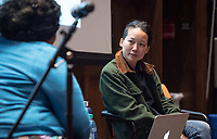 Oxy Arts Speaker Series presents Beatriz Cortez & Candice Lin in conversation on Thursday, Feb. 7, 2019 in Choi Auditorium.<br /> Beatriz Cortez is a Los Angeles-based artist and scholar. A professor of Central American Studies Department at Cal State Northridge, Beatriz was born in El Salvador and migrated to the United States in 1989. Beatriz's sculpture Tzolk'in is located in the center of the Academic Quad.<br /> Candice Lin is an assistant professor in the UCLA Department of Art and an interdisciplinary artist who works with installation, drawing, video, and living materials and processes, such as mold, mushrooms, bacteria, fermentation, and stains. Candice Lin is the 2018-19 Occidental Wanlass Artist in Residence. Her exhibition The inscrutable speech of<br /> objects is currently on view at Weingart Gallery.<br /> The Oxy Arts Speaker Series brings multidisciplinary LA-based artists to Occidental College to engage our community in conversation about their art, their inspirations, and why they do what they do in Los Angeles today and is made possible by the Arts and Urban Experience Initiative, which is generously funded by the Andrew W. Mellon Foundation.<br /> (Photo by Marc Campos, Occidental College Photographer)