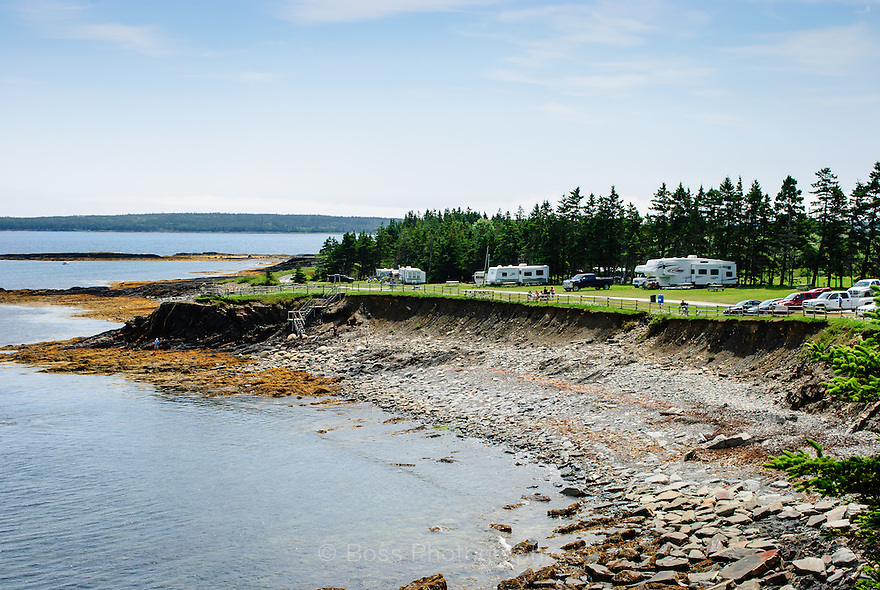 RV sites overlooking the Atlantic Ocean at The Ovens, Nova Scotia