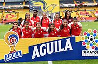 BOGOTÁ-COLOMBIA, 11–08-2019: Jugadoras de Independiente Santa Fe, posan para una foto, antes de partido de la fecha 5 entre Independiente Santa Fe y La Equidad, por la Liga Águila Femenina, jugado en el estadio Nemesio Camacho El Campín de la ciudad de Bogotá. / Players of Independiente Santa Fe, pose for a photo, prior a posponed match of the 5th date between Independiente Santa Fe and La Equidad, for the 2019 Women's Aguila League played at the Nemesio Camacho El Campin Stadium in Bogota city, Photo: VizzorImage / Luis Ramírez / Staff.