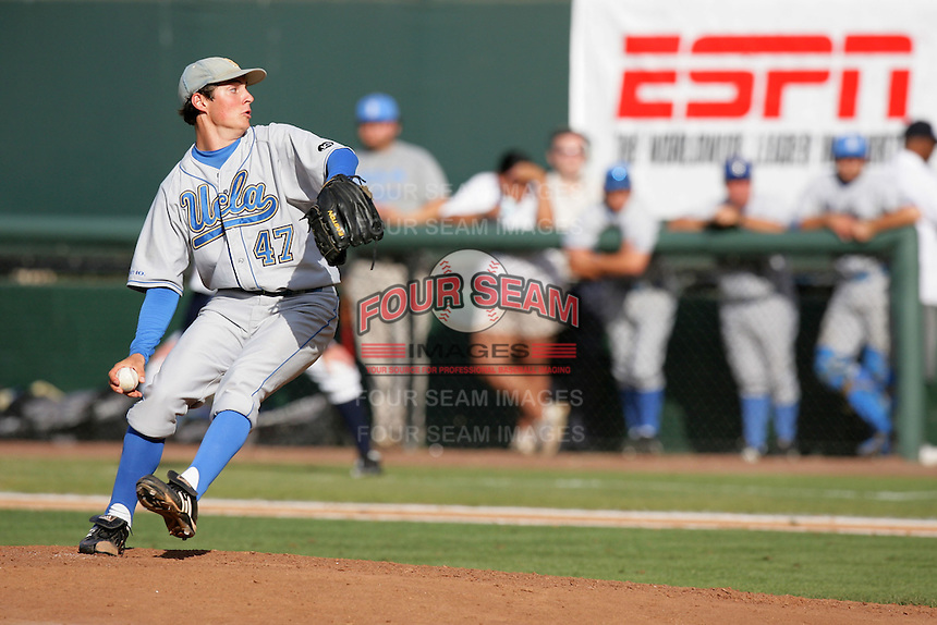 Trevor Bauer of the UCLA Bruins during game against the Cal.St. Fullerton Titans at Jackie Robinson Stadium in Los Angeles,California on June 12, 2010. Photo by Larry Goren/Four Seam Images