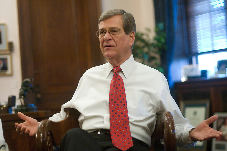 Sen. Trent Lott, R-Miss., is interviewed by Roll Call in his Russell office.