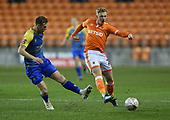 18/12/18 The Emirates FA Cup, 2nd Round Replay Blackpool v Solihull Moor<br /> <br /> Callum Guy challenge