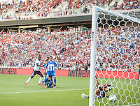 Sandy, Utah - Tuesday, June 18, 2013: USMNT 1-0 over  Honduras at Rio Tinto Stadium during a WC qualifying match. Jozy Altidore scores a goal.