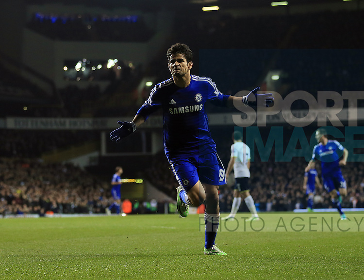 Chelsea's Diego Costa celebrates scoring his sides opening goal<br /> <br /> Barclays Premier League - Tottenham Hotspur vs Chelsea - White Hart Lane  - England - 1st January 2015 - Picture David Klein/Sportimage