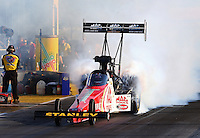 Sep 27, 2013; Madison, IL, USA; NHRA top fuel dragster driver Doug Kalitta during qualifying for the Midwest Nationals at Gateway Motorsports Park. Mandatory Credit: Mark J. Rebilas-