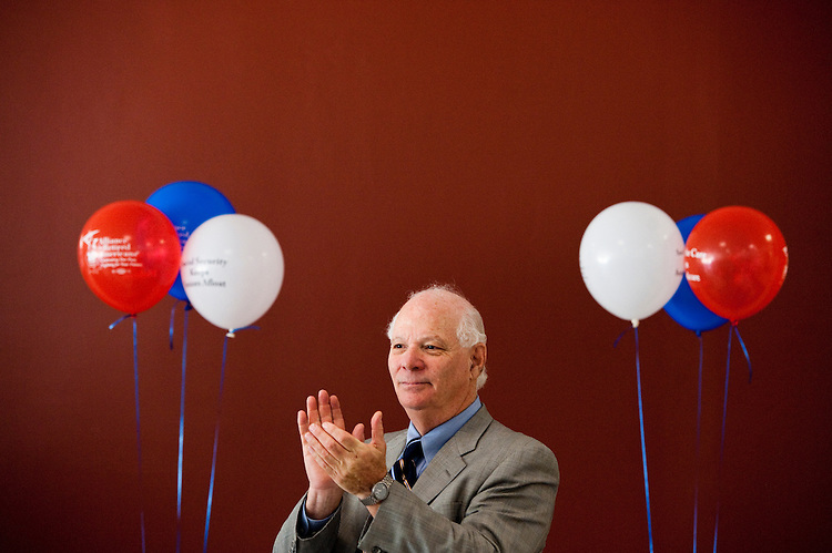 UNITED STATES - AUGUST 4: Sen. Ben Cardin, D-Md., speaks to the Maryland/DC Alliance for Retired Americans about Medicare, Social Security and the recent debt ceiling compromise at the Council House, an assisted living building in Suitland, Md., on Thursday, Aug. 4, 2011. The group set up balloons in the community room to celebrate the birthdays of Medicare and Social Security. (Photo By Bill Clark/Roll Call)