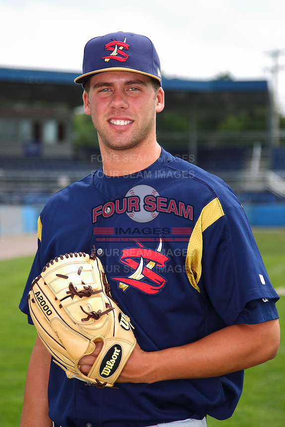 State College Spikes pitcher Ryan Hafner #55 poses for a photo before a game against the Batavia Muckdogs at Dwyer Stadium on July 7, 2011 in Batavia, New York.  Batavia defeated State College 16-3.  (Mike Janes/Four Seam Images)
