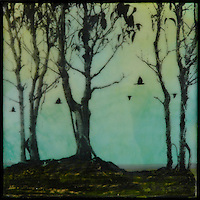 Photo transfer and mixed media encaustic painting of trees with birds