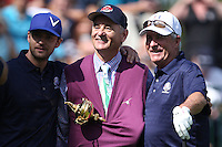 Singer Justin Timberlake and Actor Bill Murray with 1991 Captain Dave Stockton on the 1st  during the Captain/Celebrity scramble exhibition at the Ryder Cup 2012, Medinah Country Club,Medinah, Illinois,USA.Picture: Fran Caffrey/www.Golffile.ie.