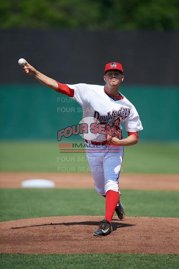Auburn Doubledays starting pitcher Weston Davis (24) delivers a warmup pitch during the second game of a doubleheader against the Mahoning Valley Scrappers on July 2, 2017 at Falcon Park in Auburn, New York.  Mahoning Valley defeated Auburn 3-2.  (Mike Janes/Four Seam Images)
