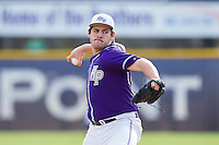 High Point Panthers relief pitcher Conor Lourey (37) in action against the Coastal Carolina Chanticleers at Willard Stadium on March 15, 2014 in High Point, North Carolina.  The Chanticleers defeated the Panthers 1-0 in the first game of a double-header.  (Brian Westerholt/Four Seam Images)