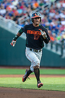 Christopher Barr (17) of the Miami Hurricanes runs during a game between the Miami Hurricanes and Florida Gators at TD Ameritrade Park on June 13, 2015 in Omaha, Nebraska. (Brace Hemmelgarn/Four Seam Images)