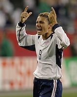 Mia Hamm celebrates with crowd in Foxboro. 2003 WWC USA/Norway quarter final.