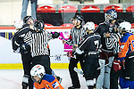 A fight breaks out between Connor Daly of Principal and Tony Leung of Gaggia Empire during the Principal Standard League match between Gaggia Empire vs Principal at the Mega Ice on 29 November 2016 in Hong Kong, China. Photo by Marcio Rodrigo Machado / Power Sport Images
